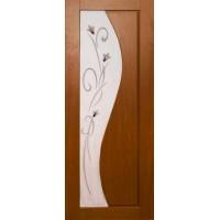 Ламинированная ПВХ дверь Азалия (остекленная), цвет: орех