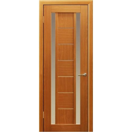 Ламинированная ПВХ дверь Елена-2 (остекленная), цвет: миланский орех