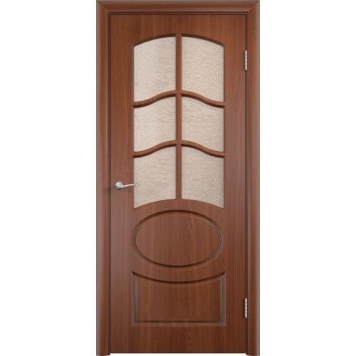 Ламинированная ПВХ дверь Неаполь (остекленная)